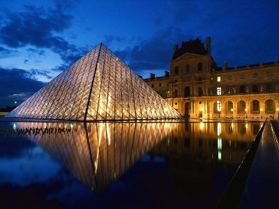 France-Pyramid at Louvre Museum Paris